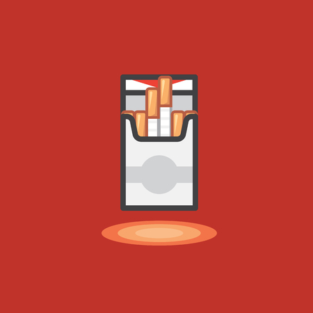 baccy: Vector icon in line work style of pack cigarettes on red background