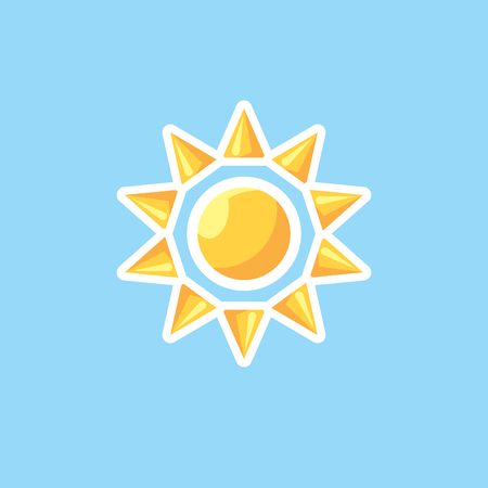 summer solstice: Vector icon in style linework sun on blue sky background