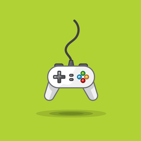 Vector icon of game joystick to play station on green background