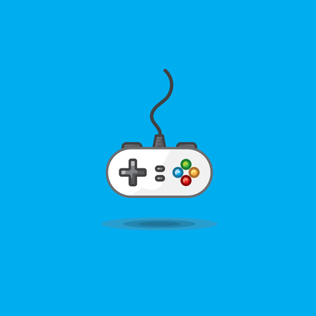 Vector icon of gamepad to play station on green background Illustration