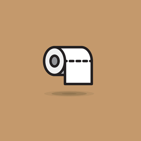 Vector icon roll of toilet paper with smooth edge on brown background