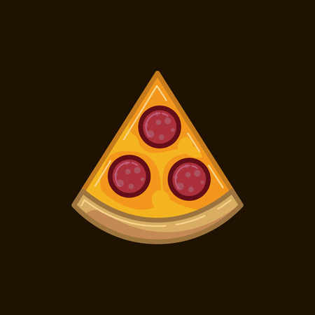 Vector icon pizza with sausage on a dark background. Illustration of fast food pepperoni pizza