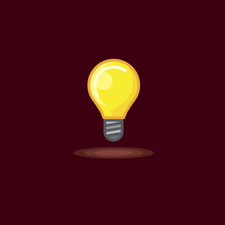 Vector illustration of a glowing incandescent lamp, lighted bulb on dark background