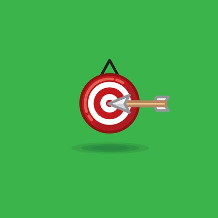 Vector illustration arrow flying in target on a green background Illustration