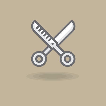 Vector icon spinneress scissors. Illustration of hairdressing scissors