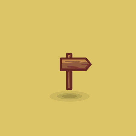 reference point: Vector icon one wooden path sign to right isolated