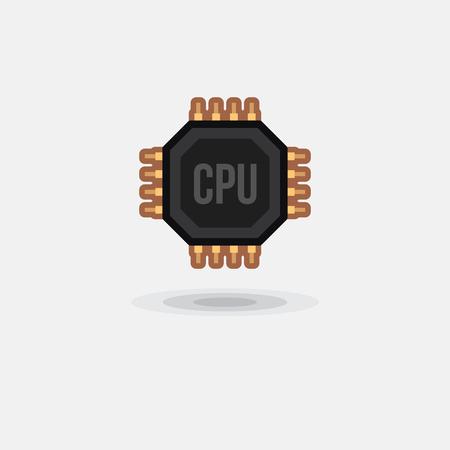 ic: Vector icon processor GPU, CPU isolated. Illustration computer hardware Illustration
