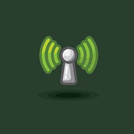 Vector icon sign antenna wi fi. Illustration free wi fi, green reception signal