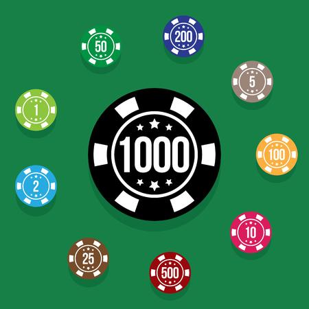 Set poker chips on poker table green color. Multicolored poker chips on background poker table. Vector illustration Illustration