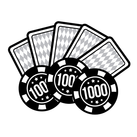 Set poker chips and poker cards for casino games. Vector illustration Illustration