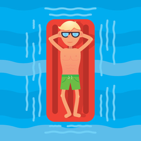 Man swimming in sea on red air mattress top view. Vector illustration