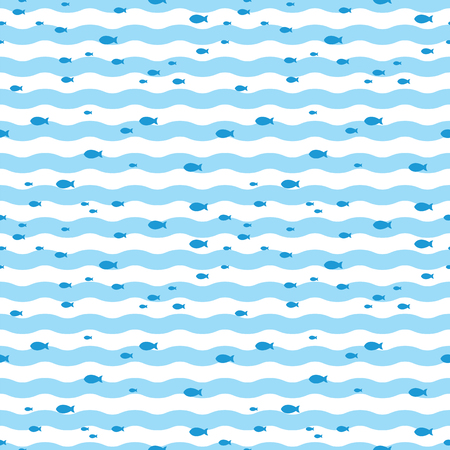 Pattern fish swimming in blue sea. Fish pattern  イラスト・ベクター素材