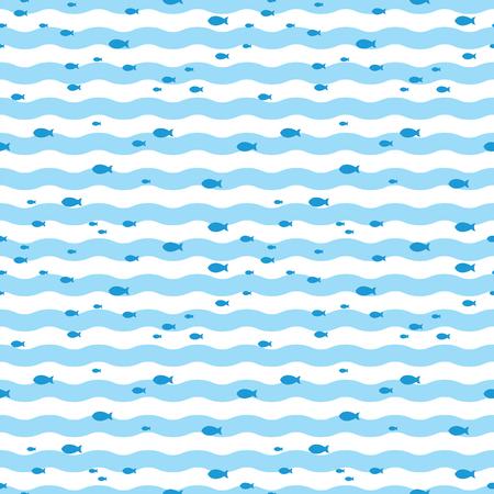 Pattern fish swimming in blue sea. Fish pattern 일러스트