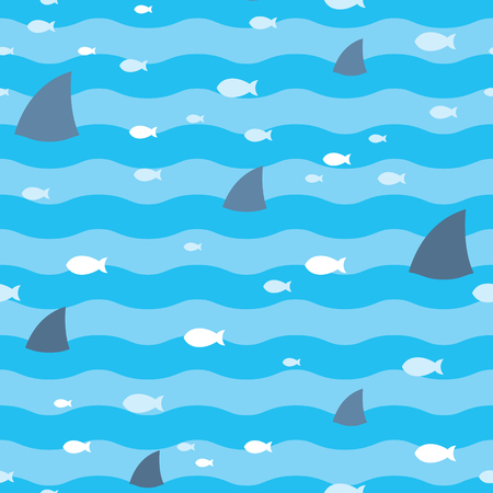 Pattern fish and fins sharks swimming in blue sea. Sharks pattern Illustration