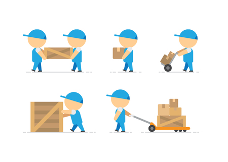 Man loader with wooden box in hands and container on freight trolley on white background vector illustration Vettoriali