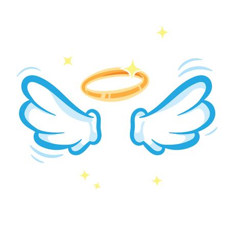 白い天使の翼と白い背景に隔離された輝く黄金のハロー  イラスト・ベクター素材