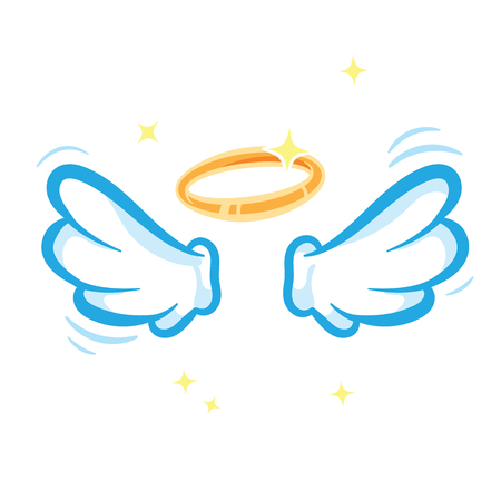 Witte engelenvleugels en gloeiende gouden halo die op witte achtergrond worden geïsoleerd