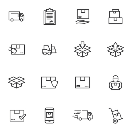 Set order and courier delivery goods, courier service, warehouse vector icons