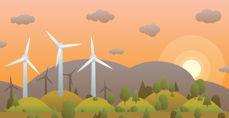Wind turbines and sunset in evening forest on background hill and sky Ilustracja