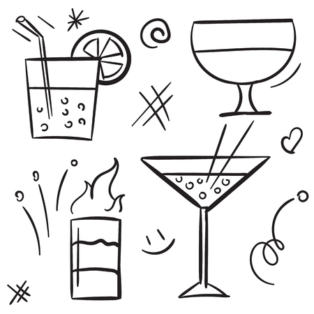 Cocktail icon set isolated on white background. Alcohol cocktail glasses and beverage in glass for drinking on white background vector icon  イラスト・ベクター素材