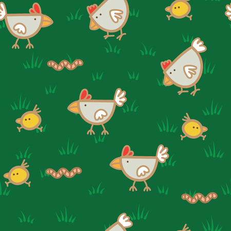 Pattern of hens walking on green grass and pecking worms background.