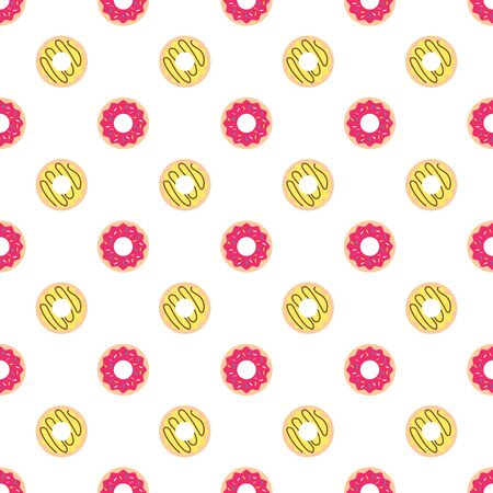 Donuts with colored glaze on pattern background.