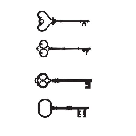 Set antique keys for locks different shapes vector icon. Vector icon old keys isolated on white background. Black vintage keys vector