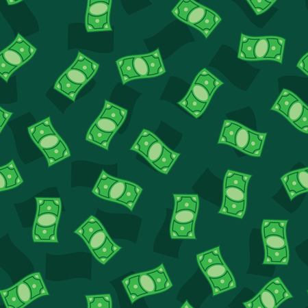 Money banknotes on green background. Seamless pattern green money bills. Green money pattern.
