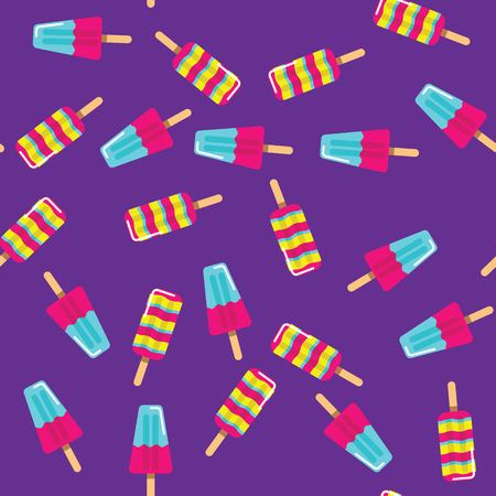 Pattern ice cream on stick on purple background. Seamless pattern fruit and milk ice cream eskimo.