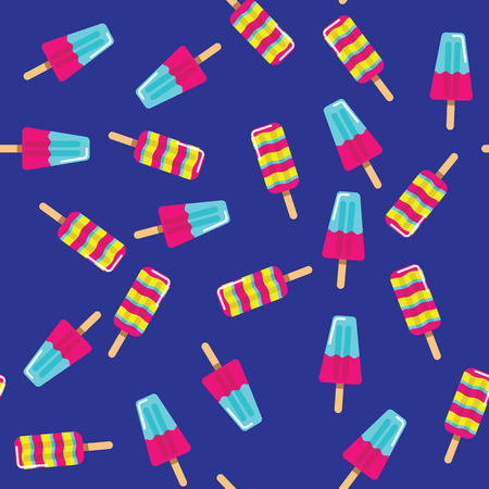 Ice cream pattern on blue background. Summer ice cream on stick on pattern background.