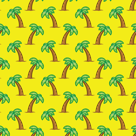 Pattern tropical palm tree on yellow background. Exotic palm tree seamless pattern.