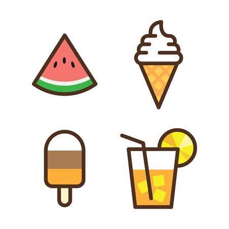 Colorful vector icon ice cream, watermelon slice, fruit cocktail on white background. Juicy watermelon, ice cream and cocktail vector illustration.
