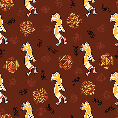 Injun playing music on pipe and ritually dancing on ethical pattern background. Seamless pattern red indian man on brown background. Indigenous culture.