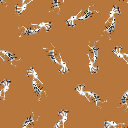 Indian man playing music on pipe and ritually dancing on ethical pattern background. Seamless pattern injun with desorations on brown background.