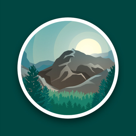 Mountain peaks, sun and green forest vector landscape in round. Vector illustration mountain landscape, sunset and green forest