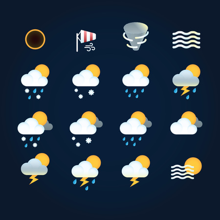 Weather icons sun and clouds in sky, rain with snow, thunder and lightning at hurricane. Flat vector weather and meteorology for mobile and web application.
