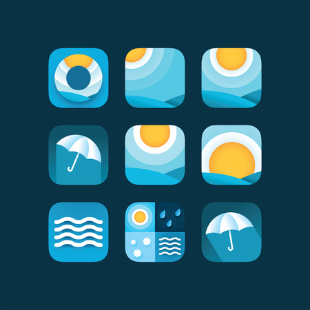Set weather icons sun in sky, rain drops, snow and umbrella. Flat vector weather and meteorology for mobile and web application