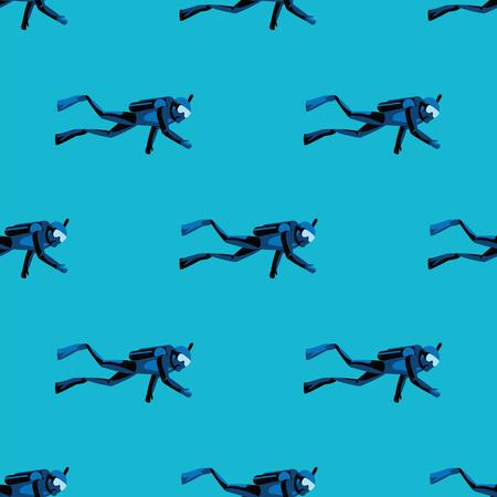 Modello scuba diver immersioni sott'acqua su sfondo blu del mare. Immersioni in oceano e in mare, nuoto subacqueo e sport acquatici