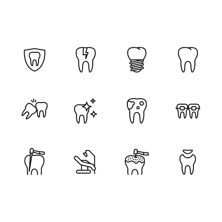 Vector icon set health teeth and dental treatment in medical clinic. Outline vector icon dentistry, oral care, implantation and orthodontics