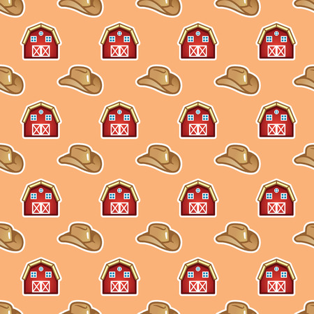 Countryside and cowboy concept. Farm barn and hat. Farming and animal breeding lifestyle, livestock concept seamless pattern.
