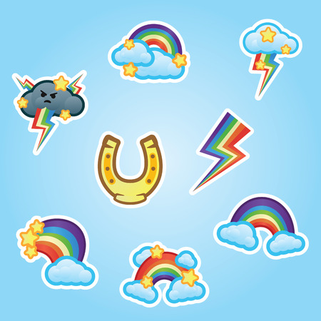 Set flat stickers horse shoe, rainbow, white clouds and stars, multicolor lightning strikes from gray thunderclouds. Funny stickers rainbow and clouds on blue background