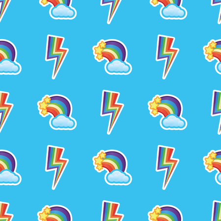 Rainbows, white clouds and stars with multicolors lightning strikes pattern background. Funny rainbows and clouds seamless pattern