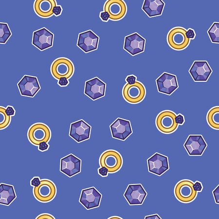Pattern gold ring with large diamond and jeweler crystal on purple background. Jewels, diamond stones, jewelry, gem, rich and luxury concept. Seamless pattern