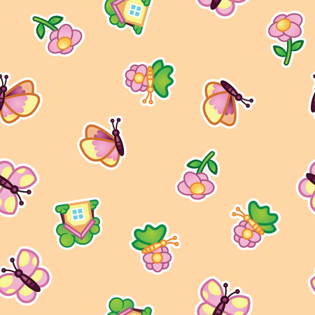 Pattern beautiful butterfly and flowering wild flowers, summer cottage on beige background. Flowers and insects, summer nature seamless pattern