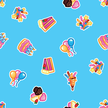 Pattern Birthday cake with candles for celebration party, cake, confectionery cupcakes, colorful balloon, festive flapper and fireworks for holiday. Seamless pattern.