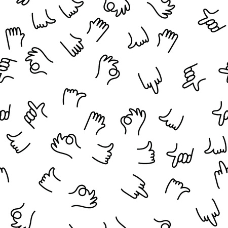 Hand drawing pattern finger gestures ok, thumb and index finger up, middle finger fuck you. Positive and negative hand painting gestures communicate, greet and express people emotions. Ilustração