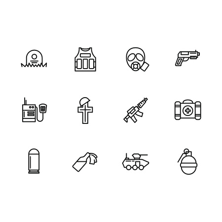 Simple set war, army, anti terrorism, battle vector line icon. Contains such icons body armor, gas mask, chemical attack, weapon, gun, walkie talkie, first aid kit, death of military soldiers Illustration