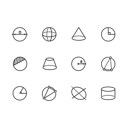Simple set geometric figures vector line icon. Contains such icons circle, sphere, cylinder, cone, pyramid, radius, degree of angle and other. Vettoriali