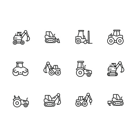 Set special transport and construction equipment vector line icons. Contains such icons machines for building, mining, agricultural work. Forklift, excavator, tractor, bulldozer and other.