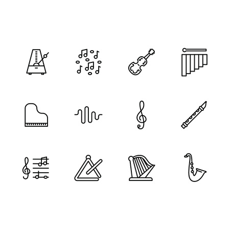 Simple set music instrument and equipment vector line icon. Contains such icons violin, piano, harp, saxophone, flute, metronome, treble clef, sheet music, musical note. Иллюстрация
